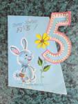 1950s Bunny On Blue Birthday Card, For A 5 Yr Old