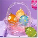 Elegant Easter Glass Basket W/decorative Eggs