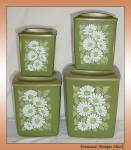 Vintage Avocado Green 4 Pc Canister Set