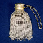 Victorian German Silver Chainmail Mesh Purse Expansion Gate Top