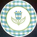 Royal Gingham Garden Bread Plate