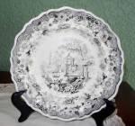 "Carey Black Transferware Plate, ""asiatic Scenery,"" C. 1823-42"