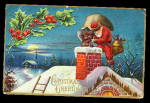 Santa Claus Climbing In Chimney 1907 Postcard