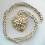 Open Work Scroll Heart Pendant W/pearl Necklace