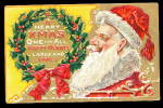 Merry Christmas Santa Claus In Wreath 1909 Postcard