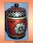 Hand Painted Wood Urn With Lid