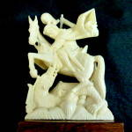 Carved Ivory Figurine, St George And The Dragon.