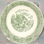 Scio Currier & Ives Green Bread Plate
