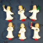Germany Hand Painted Plastic Angels Christmas Ornaments Set 6