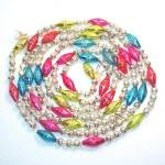 Mercury Glass Christmas Garland Round, Fancy Ribbed Beads