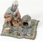 Arab On Rug Making Coffee Cold Painted Austrian Bronze