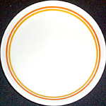Shenango Form Luncheon Plate Orange Gold Stripes