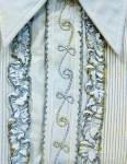 Men's Blue Ruffled 1950's Vintage Tuxedo Shirt Wedding Lg.