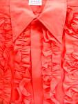 Vintage 1970's Red Ruffled Calypso Tuxedo Prom Shirt Wedding