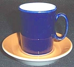 Shenango Form Blue Orange Demi Cup And Saucer