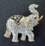 Crystal Elephant Pin, Brooch