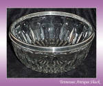 Vintage Glass Salad Bowl Silver Plate Trim