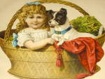 Lovely Large Victorian Advertising Die Cut - Girl & Puppy In Basket