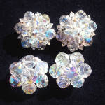 2 Pair Cut Crystal Aurora Borealis Bead Clip Earrings