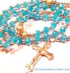 Blue Ab Crystal Bead Rosary Beads Silver Crucifix Rosary