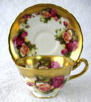 Cup And Saucer Royal Chelsea Golden Rose Wide Sponge Gold Trim