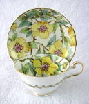 Tuscan Art Deco Teacup Dog Roses Hand Painted On Transfer 1940s