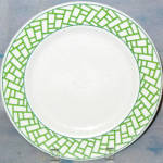 Syracuse Green Geometric Border Dinner Plate