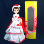 Boxed 1970s Big-eyed Bradley Style Christmas Girl Boudoir Doll