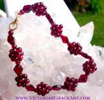Garnet Gemstone Bracelet 8 Inch Deep Red Beads