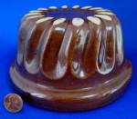 Vintage Pudding Mold England Brown Treacle Glaze Ceramic Swirl