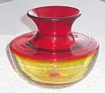 Blenko Spittoon Vase #6414 Tangerine Amberina 1964