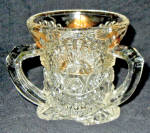 Us Glass Rising Sun Gold Trim Toothpick Holder