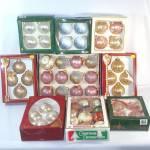 Nine Boxes Glass Christmas Ornaments Circa 1980