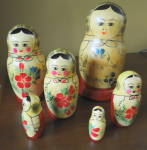 Russia Nesting Dolls, Hand Painted Vintage 1970s