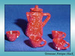 Dollhouse Miniature Metal Coffee Pot And Cups