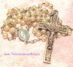 Child's Antique French 800 Silver Pearl Rosary Beads