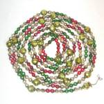 Faceted Mercury Glass Beaded Christmas Garland Red Green Chartreuse