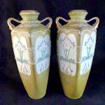 Pair Of Early Noritake Tube Lined Vases, Hand Painted.