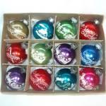 Boxed Set 1950s Stencil Scene Small Christmas Ornaments