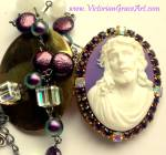 Prayer Petition Locket Necklace Jesus Christ Purple Rhinestone
