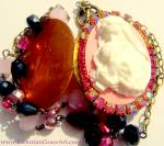 Vintage Rhinestone Locket Cameo Shrine Necklace Virgin Mary Jesus