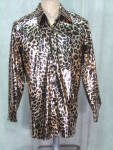 Disco Leopard Print Shirt Mens 1970s Gold Blk Shimmer