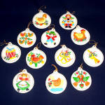 Set Bisque 12 Days Of Christmas Ornaments