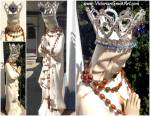 Vintage Virgin Mary Statue Rhinestone Crown Lourdes France Rosary Beads