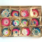 Box 1950s Poland Indent Glass Christmas Ornaments