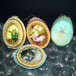 4 Hand Crafted Egg Shell Art Diorama Christmas Ornaments