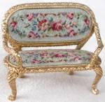 Vintage Gilt & Petit Point Miniature Settee