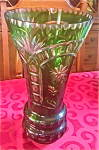 Large Bohemian Cut To Clear Emerald Green Crystal Vase