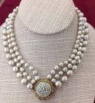 Miriam Haskell Grey Triple Baroque Pearl Necklace