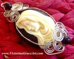 Mother Mary Sterling Silver Wire Wrapped Cameo Pendant